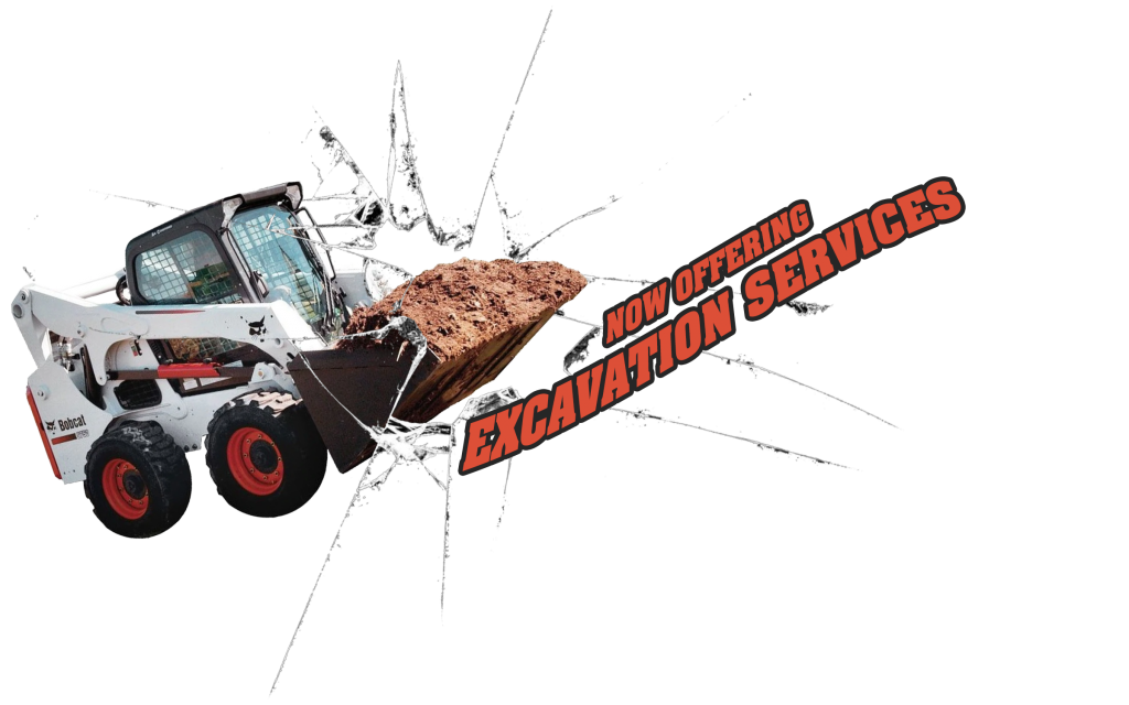 "Excavator Machine breaking through monitor with text ""Now Offering Excavation Services"""
